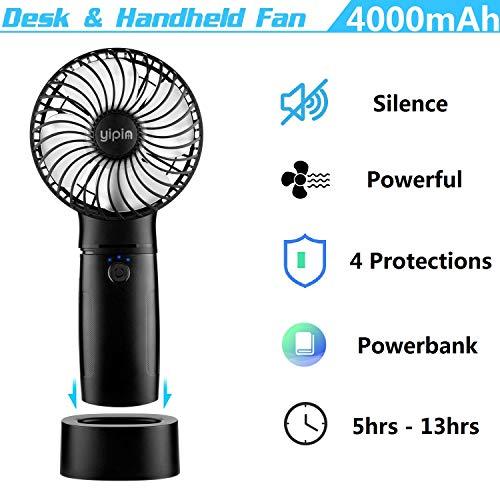 yipin Mini Ventilatore USB Portatile con Powerbank da 4000 mAh