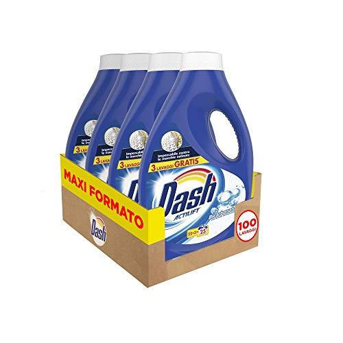 4x25 lavaggi Dash Detersivo Lavatrice Liquido Bicarbonato, con Azione Igienizzante