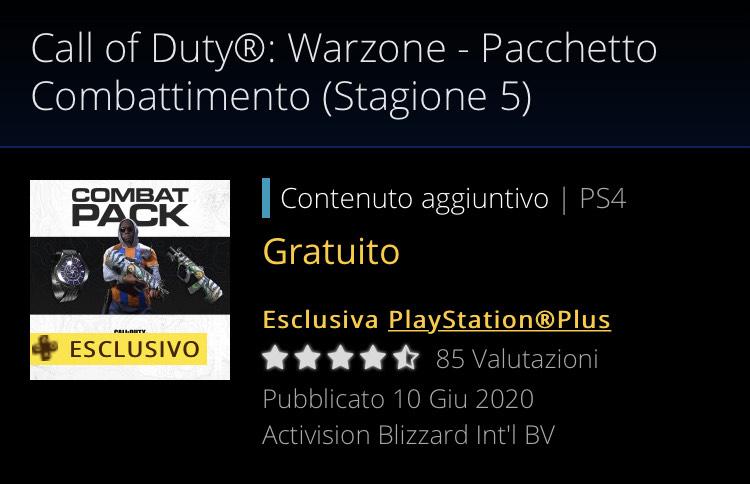 Call of duty - Modern Warfare PS4 pacchetto combattimento (Membri PS Plus)