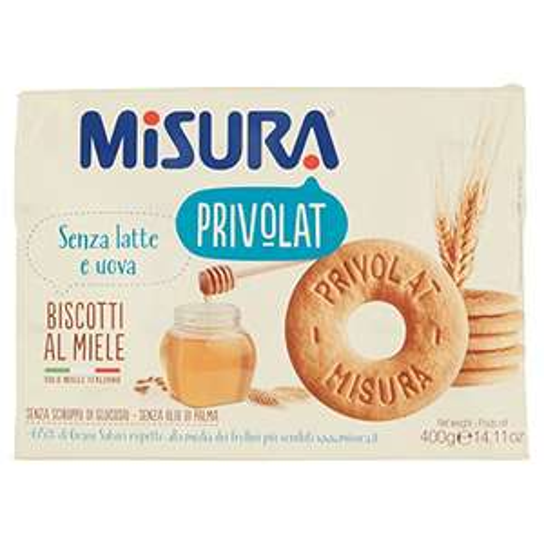 3x 400gr Misura Privolat, Biscotti al Miele Italiano, Senza Latte e Uov