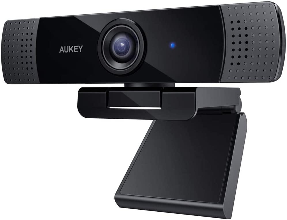 AUKEY Webcam 1080p Full HD con Microfono Stereo, per Video Chat e Registrazione, Compatibile con Windows, Mac e Android