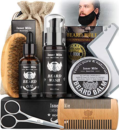 Set Di Strumenti Per Toelettatura E Rifinitura Con Shampoo Barba, Olio Barba, Balsamo Barba, Pennello, Pettine, Forbici e Modello Barba