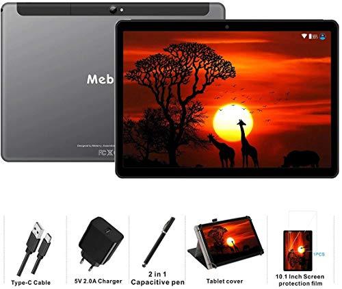 MEBERRY Tablet 10 Pollici Android 9.0 Pie Tablets 4GB RAM + 64GB ROM - Certificato Google GSM - Dual SIM | 8000mAh | WIF I| Grigio