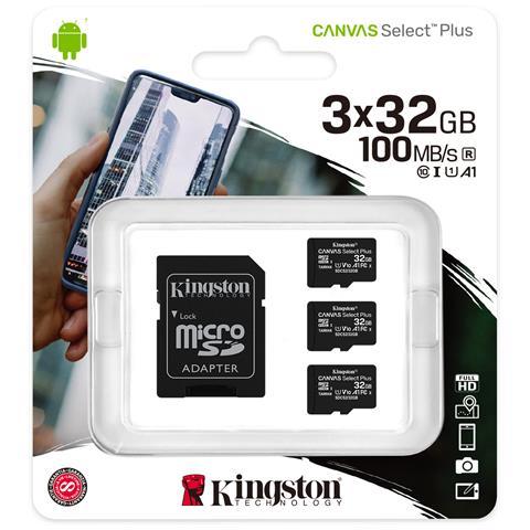 KINGSTON Scheda di Memoria SDHC Canvas Select Plus 3 x 32 GB Classe 10 Velocità 100 MB / s con Adattatore