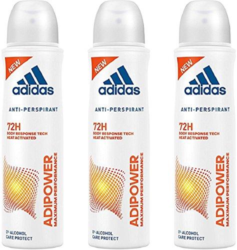 3x Adidas Adipower Deodorante Spray Donna