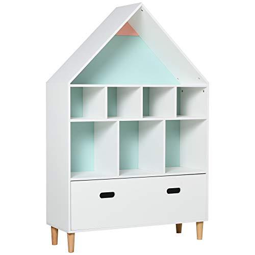 homcom Libreria Scaffale Portagiochi per Cameretta Bimbi e Ragazzi con Mensole a Cubi Bianca, Azzurra e Rosa 82x30x126cm