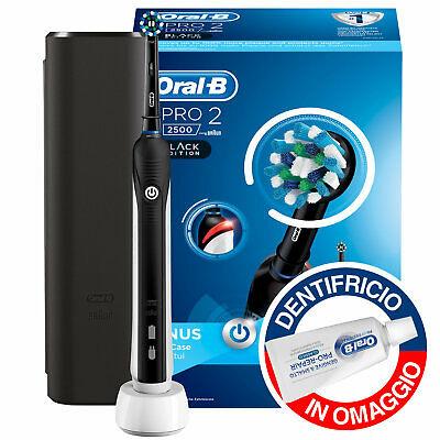 Kit Oral-B Pro 2 2500 Spazzolino Elettrico Black Edition Dentifricio da Viaggio