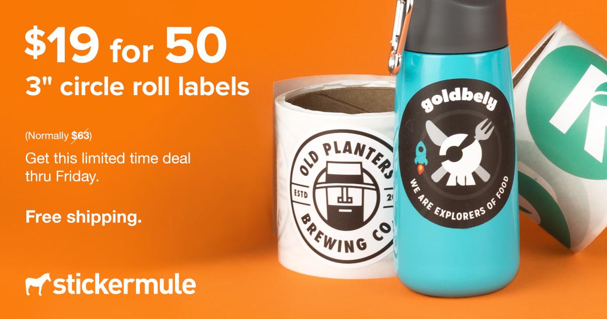 50x etichette rotonde