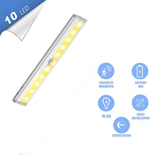 Lampada LED a batterie adesiva con sensore di movimento