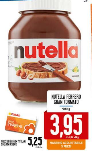 Nutella - Gran formato 900 gr. In Tutti i Conad D'italia