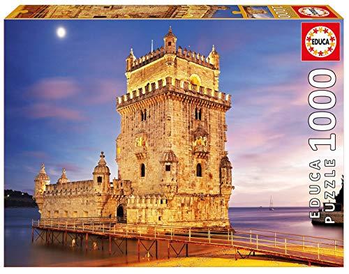 Educa Borras-1000 Torre de Bélem, Lisboa Puzzle, Colore Vario, 17195