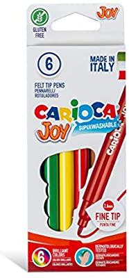 Carioca Joy - 6 Pennarelli con punta fine in feltro, lavabili