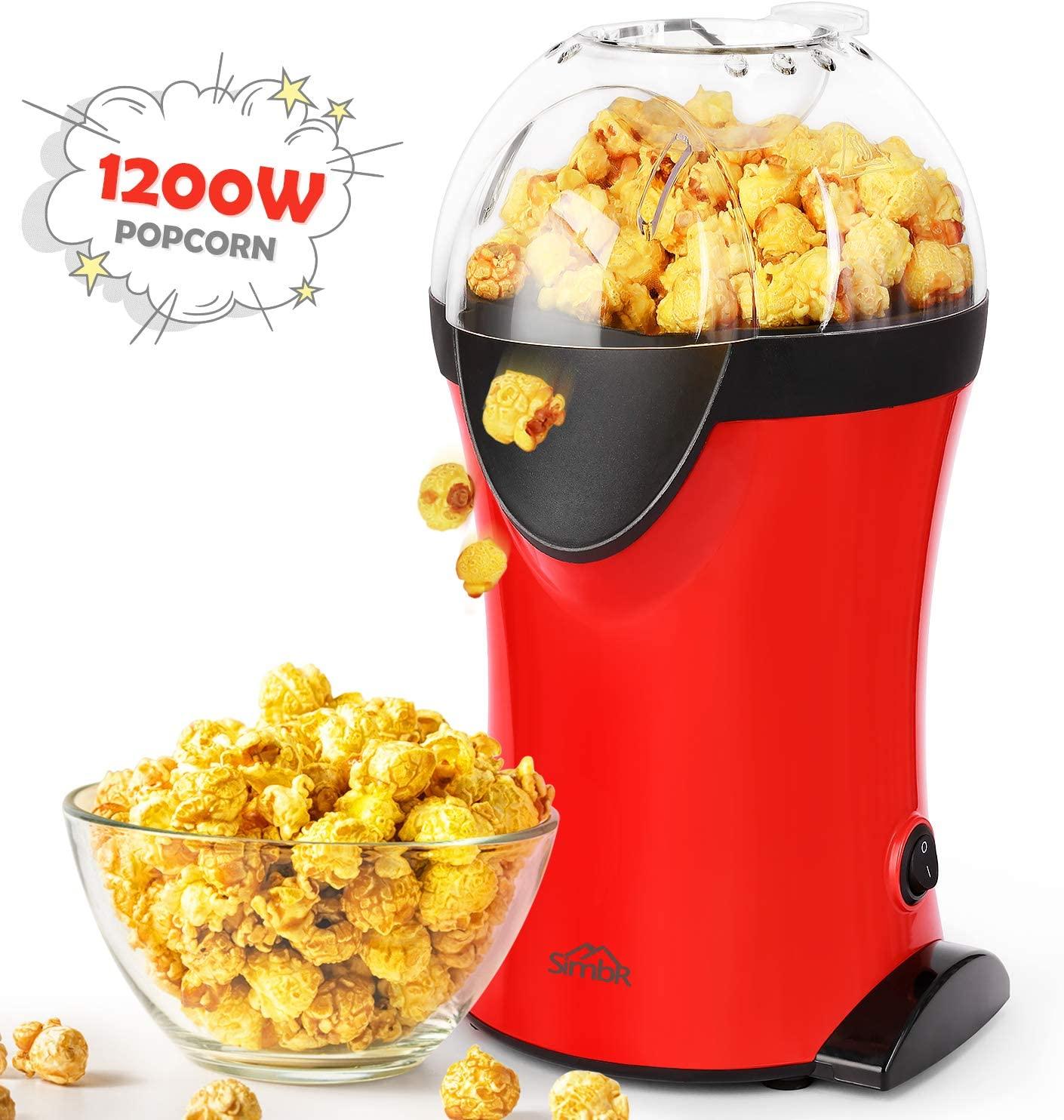 SIMBR Macchina Popcorn, ad Aria Calda Macchina per Popocorn Compatta Automatica, Senza Olio e Grassi, 1200W(rosso)