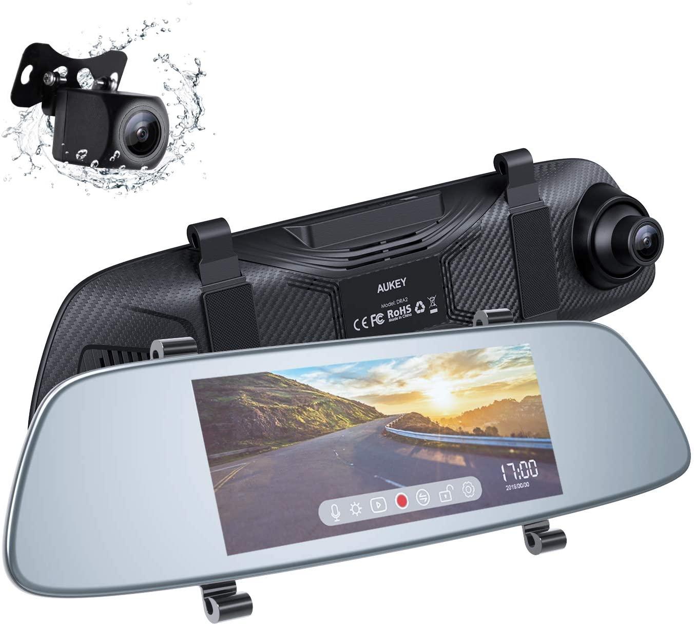 AUKEY Dash Cam a Specchietto Touchscreen LCD 6.8 Pollici