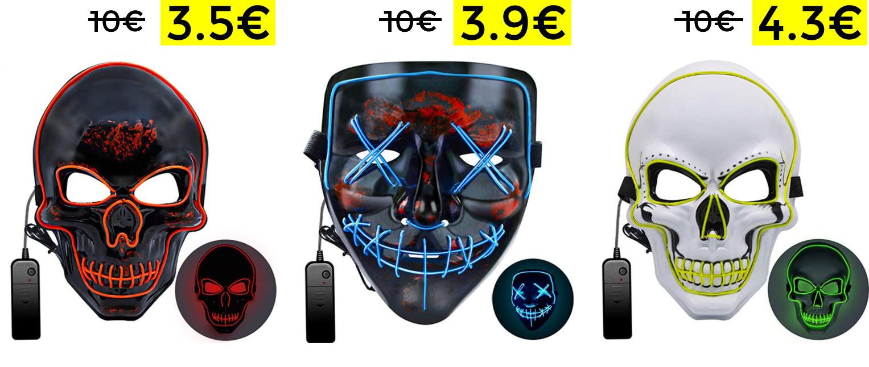 Maschera LED 3 modalità di Luce 3.5€