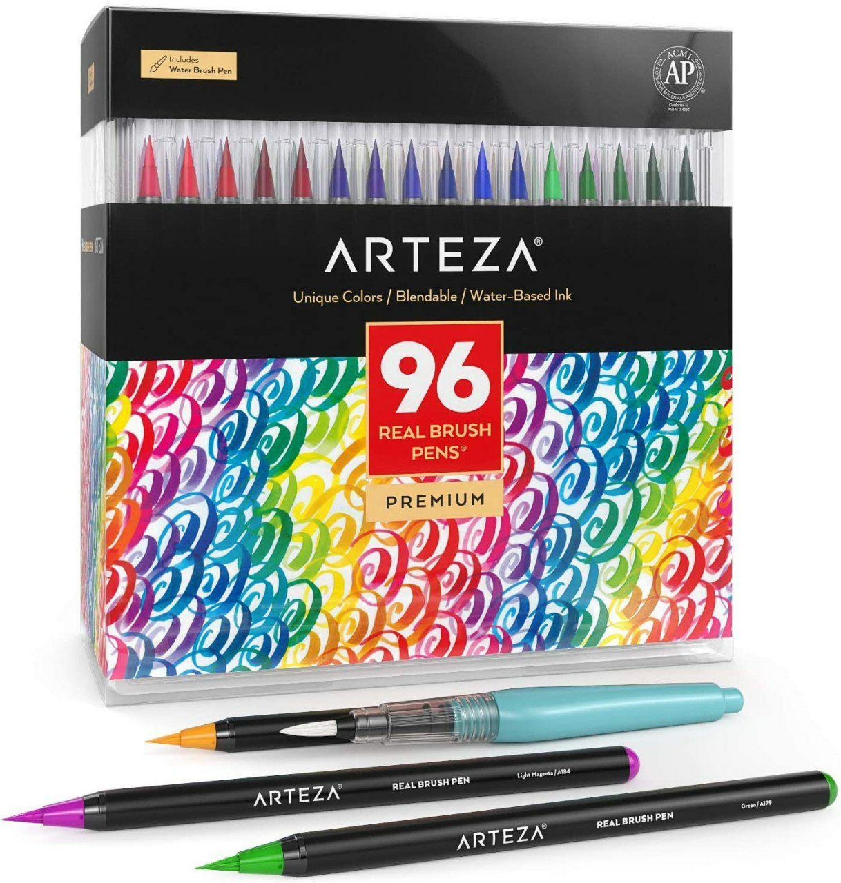 Set da 96 pennarelli acquerello, punta morbida e flessibile
