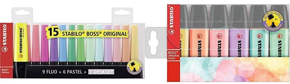 STABILO BOSS Desk-Set: 9 Neon + 12 pastel