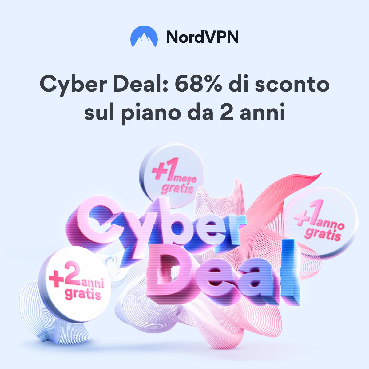 NordVPN - 68% di sconto e fino a 24 mesi in regalo con il Cyber-Deal