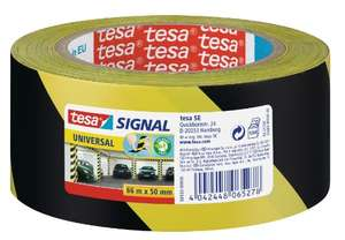 Tesa - Nastro Adesivo da Segnalazione, Giallo/Nero 66m x 50mm