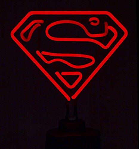 Retro Neon DC Comics Superman Luce Con Base