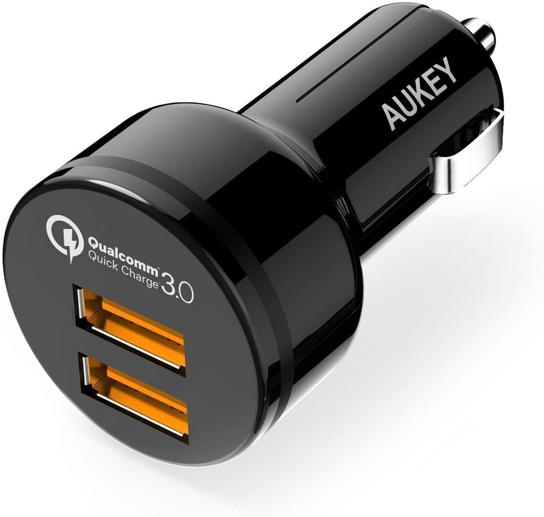 AUKEY Quick Charge 3.0 Caricatore per Auto di Due Porte 39W