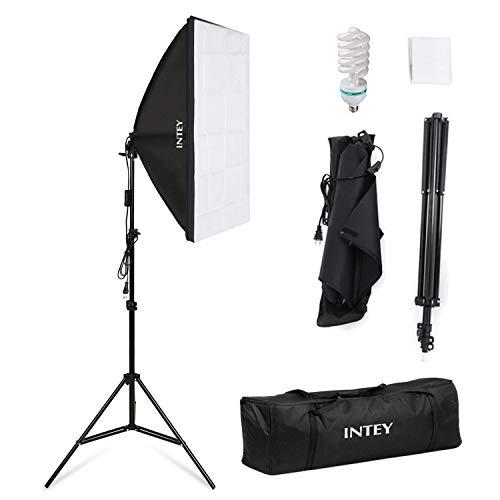 Softbox Kit Fotografico 50x70cm con Lampadina 85W E27, Treppiedi Max 200cm e Sacchetto