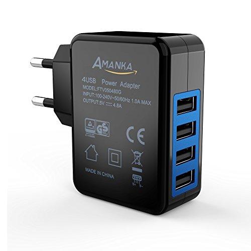 AMANKA Caricatore USB 24W, 5V 4,8A