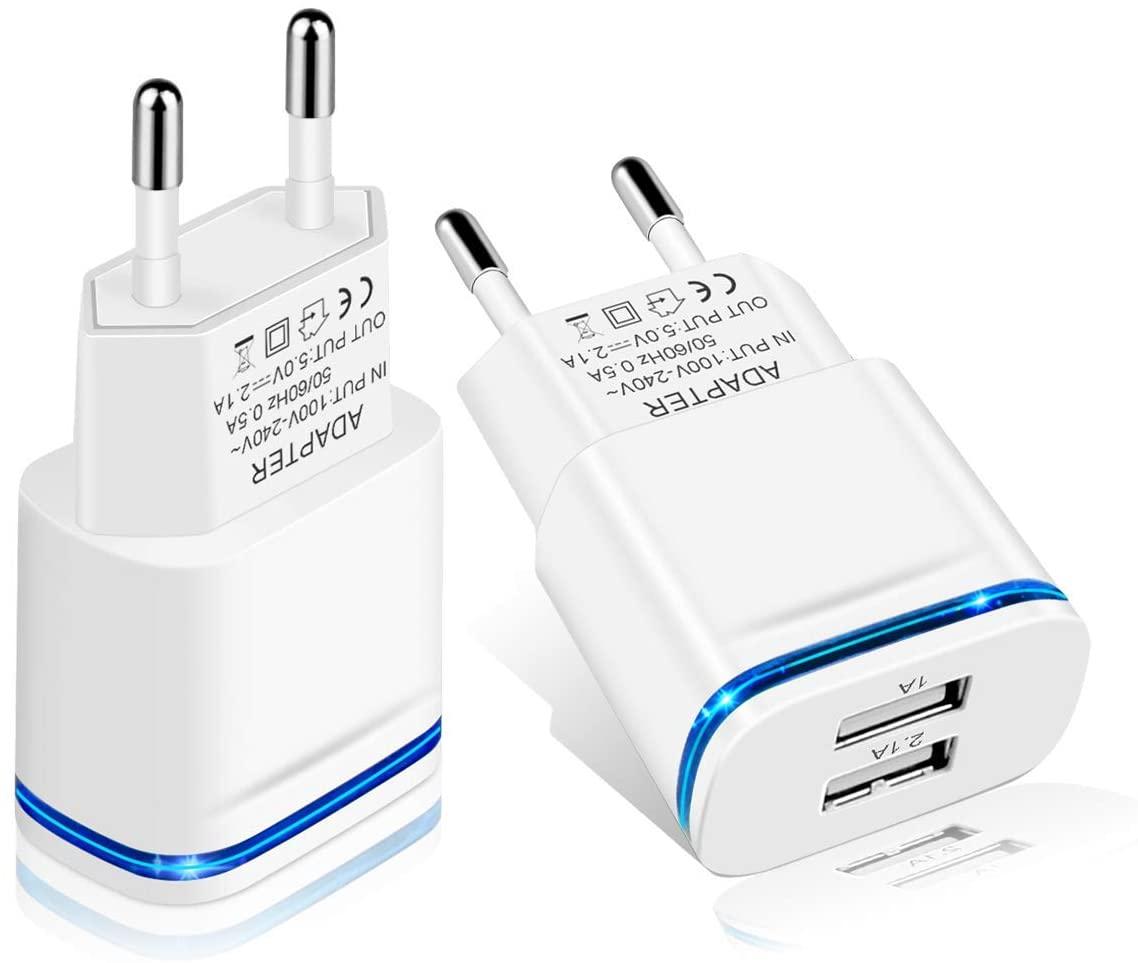 LUOATIP Caricatore USB da Muro, 2-Pack 2.1A 5V Caricabatterie Alimentatore Presa USB 2 Porte