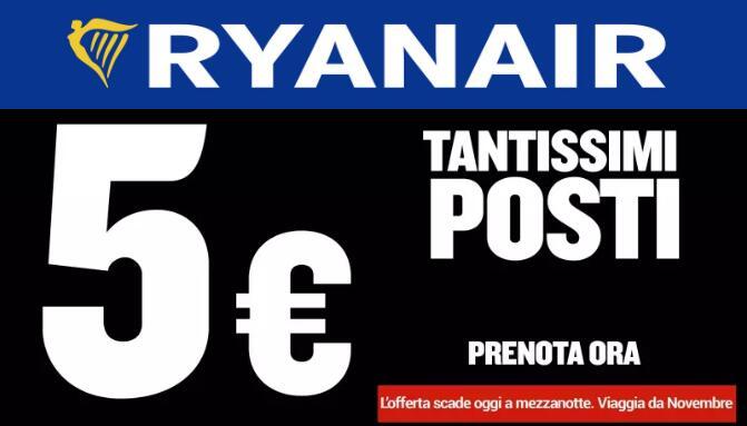 Ryanair Voli a 5€ Fino a Mezzanotte Viaggia a Novembre