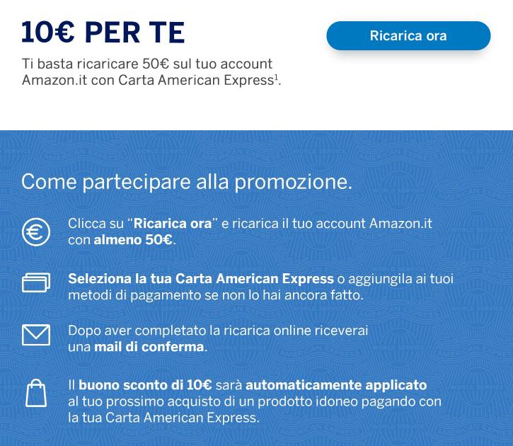 Amazon - 10€ SE RICARICHI L'ACCOUNT di 50€ CON AMERICAN EXPRESS