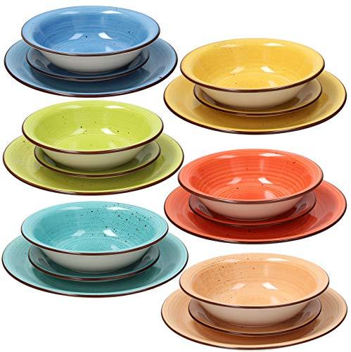 Tognana Servizio tavola 18 Pezzi Art & Pepper, Stoneware, Multicolore