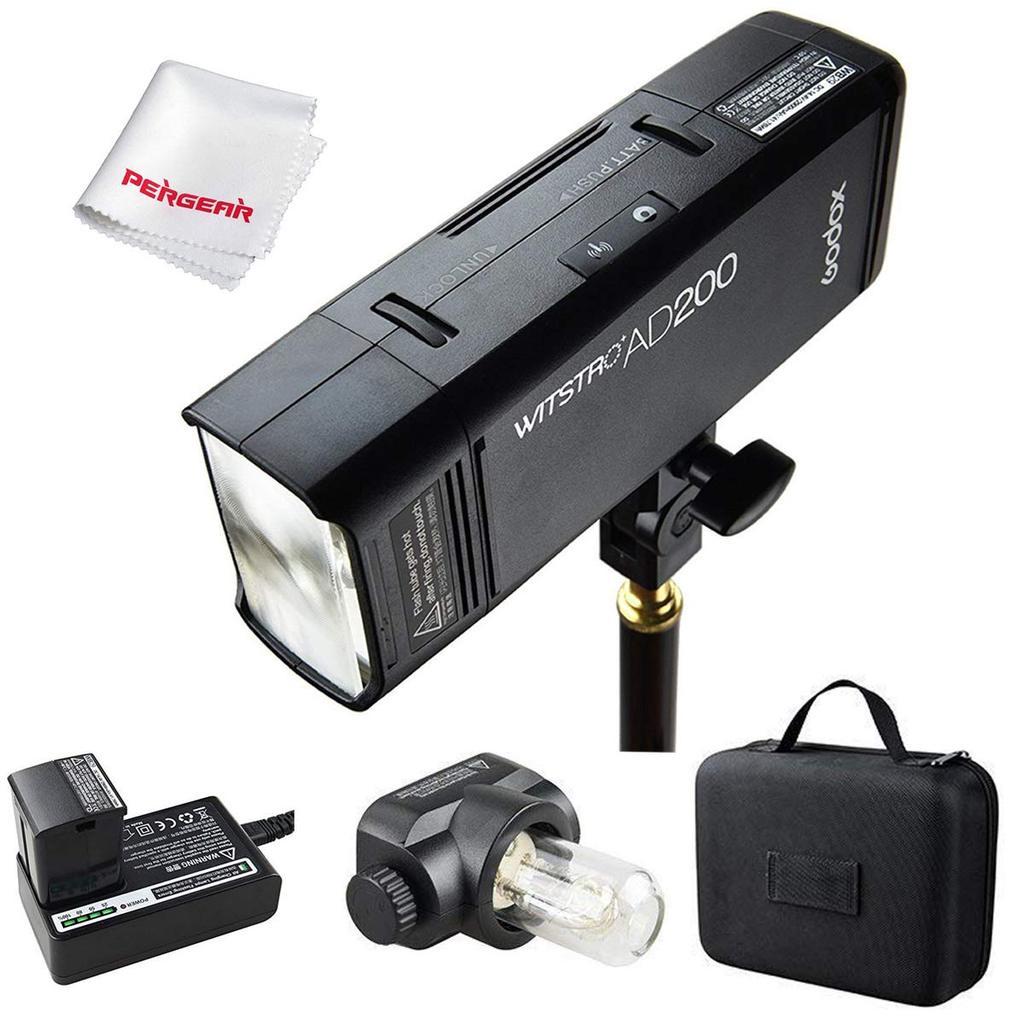 Godox AD200 TTL 200Ws 2.4G HSS 1/8000 Pocket Flash Light Doppia Testa con 2900mAh Litio Batteria e Custodia
