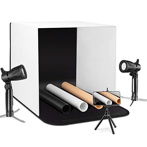 ESDDI Tenda Studio Light Box Fotografico 40 x 40cm Portatile con Regolabile Led Stand Luce