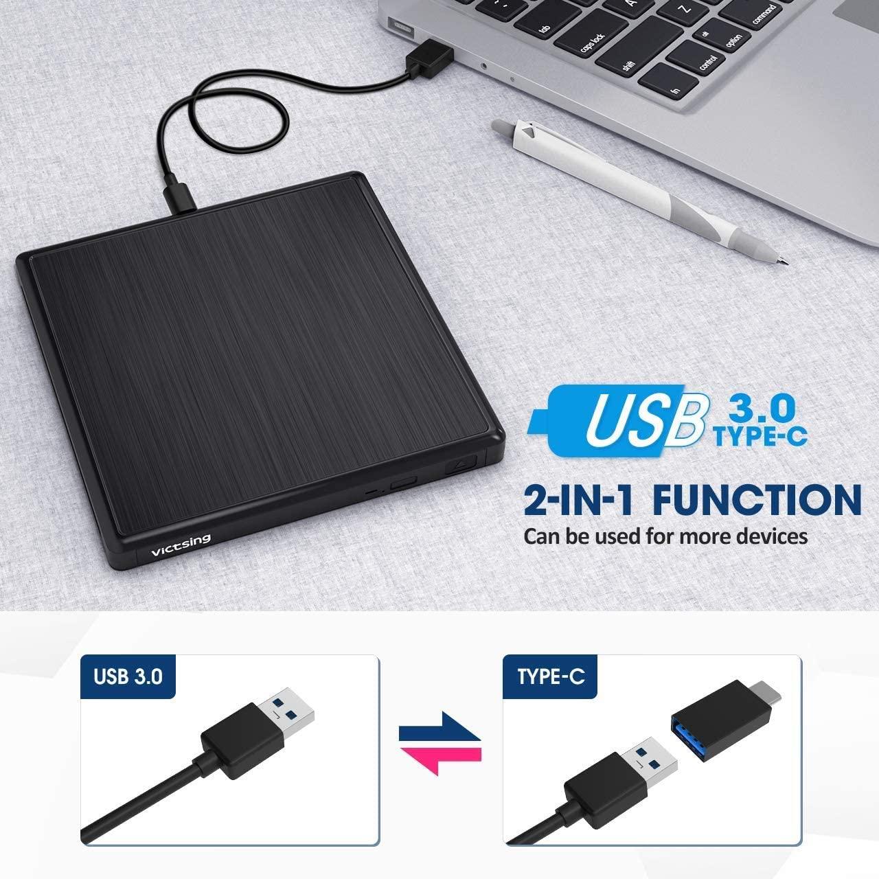 VicTsing Masterizzatore Dvd CD Esterno, unità Dvd Esterna USB 3.0