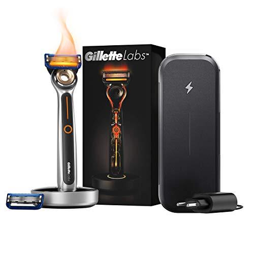 Gillette Labs Heated Razor Rasoio Riscaldato da Uomo + 2 Lamette di Ricarica, Kit da Viaggio
