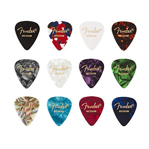"""Set di 12 - Fender """"351 Medley"""" Plettri in celluloide per Chitarra e Basso"""