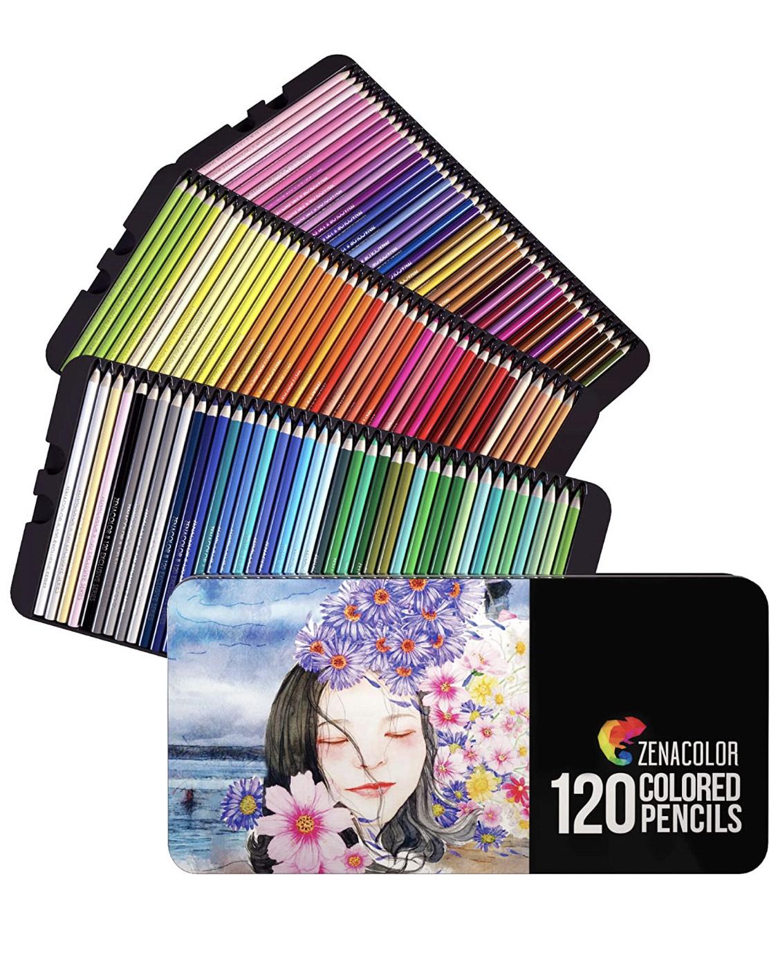 Zenacolor - 120 Matite Colorate con Scatola in Metallo - 120 Colori Unici per Disegnare e Libri da Colorare