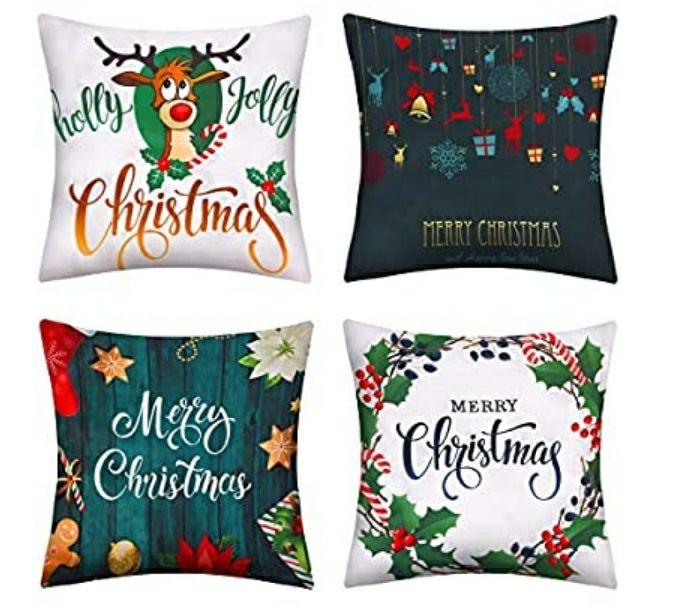 4 federe da Cuscino tema natalizio di cui uno con renna