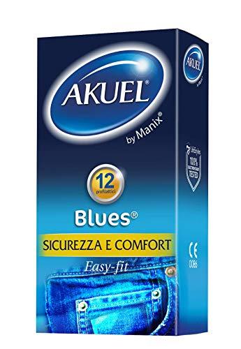 Akuel Blues, preservativi classici con forma easy-fit, 12 pezzi