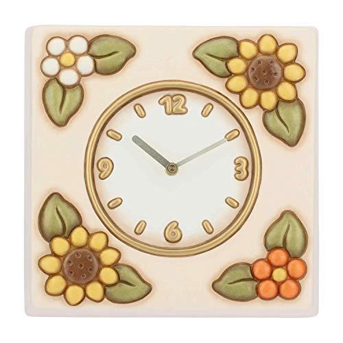 THUN - Orologio da Parete Quadrato Decorato con Girasoli - Accessori per la Casa - Linea Country - Ceramica - 20,3 x 14,5 x 9,2 cm