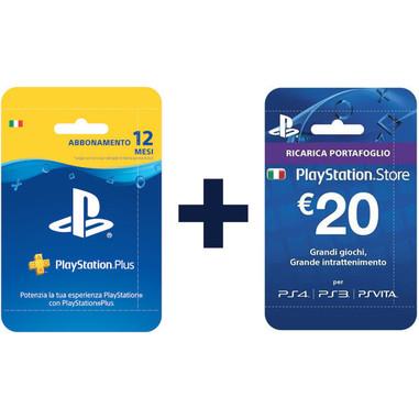 Sony PlayStation Plus Card - Abbonamento di 12 mesi + GiftCard di 20€