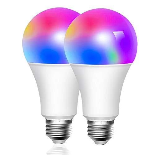 [2 Pezzi] Lampadina Smart 10W Compatibile Con Cellulari, Google Home Alexa E27