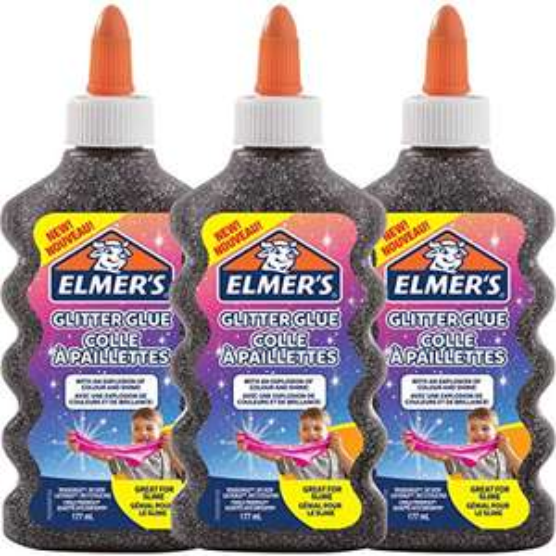 Elmer's Colla Vinilica Glitterata, Lavabile e Adatta ai Bambini, Ottima per Realizzare Slime, Nero, 3 Pezzi