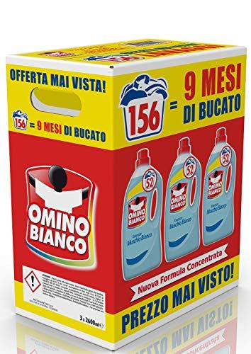 156 lavaggi Omino Bianco – Detersivo Lavatrice Liquido, Essenza di Muschio Bianco