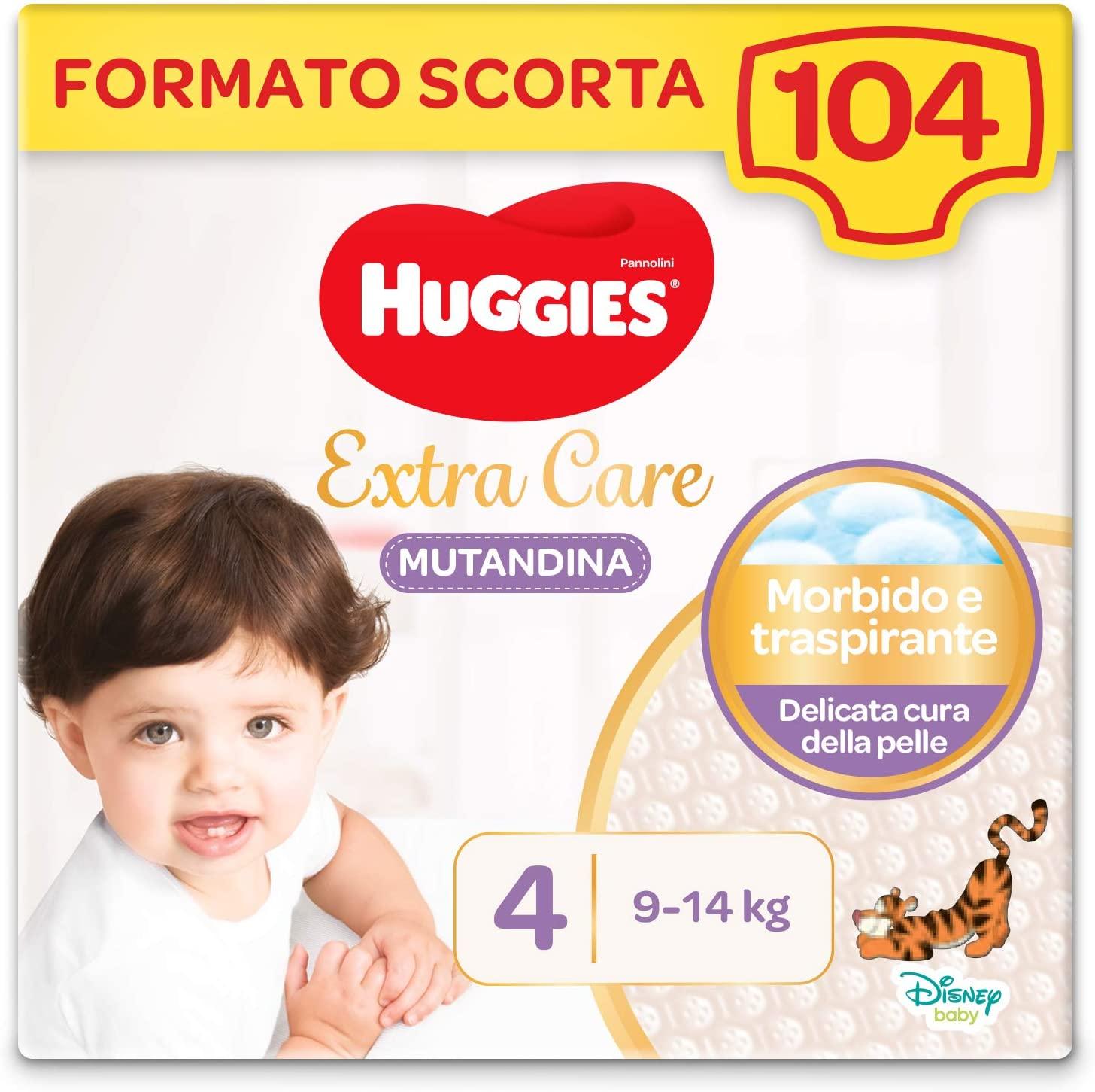 HUGGIES Extra Care Pannolino Mutandina Taglia 4 (7 -18 Kg), Confezione da 104 (4 x 26 )