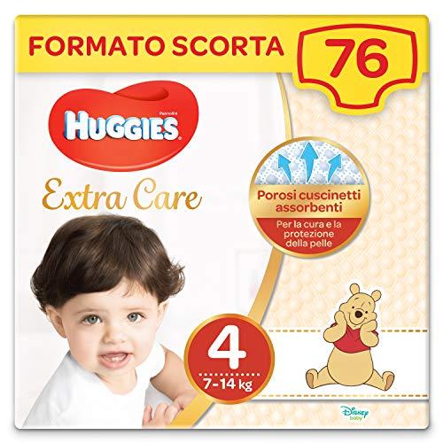 Huggies Extra Care Grande Taglia 4 (7-18Kg), 2 Confezioni da 38 Pannolini