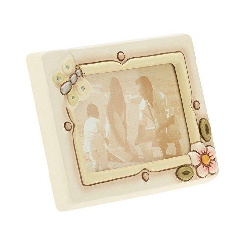 THUN, Cornice Portafoto Media con Fiore e Farfalla, da Parete o Appoggio, Ceramica, Formato 14x10 cm