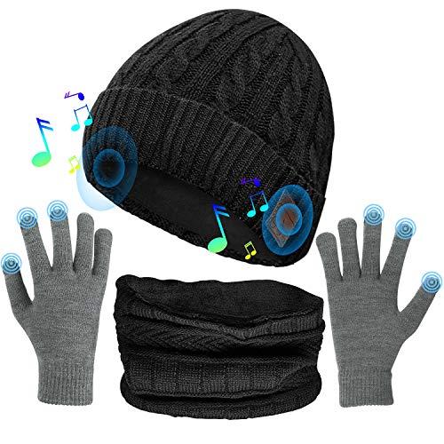 Cappello Bluetooth con Altoparlanti Stereo Integrati + scaldacollo + guanti