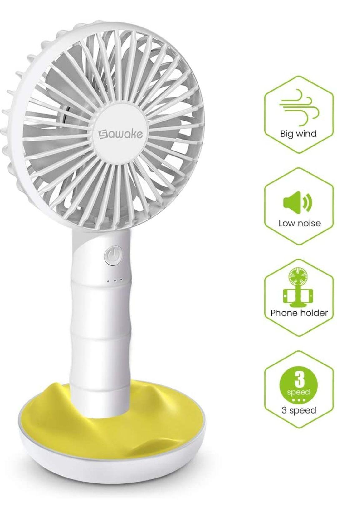 SAWAKE Ventilatore Manuale, Ventola USB Portatile con Base, Mini Ventola Ricaricabile con 3 velocità Regolabili