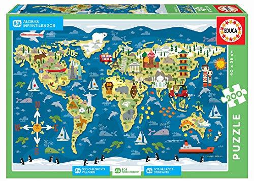 Educa Borras- Puzzle 200 pezzi World Map